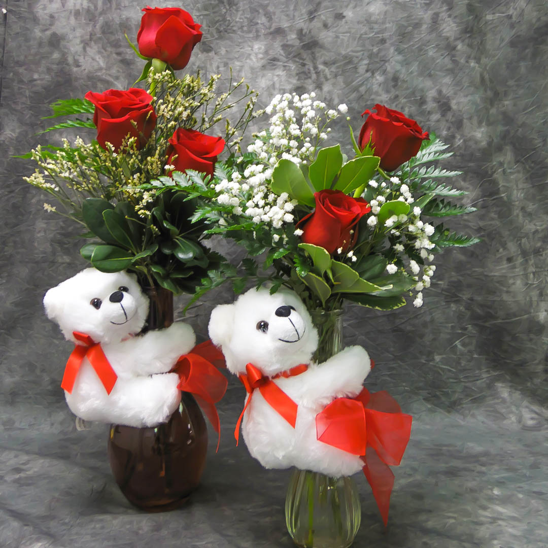 Roses with Teddy Bear Arrangement